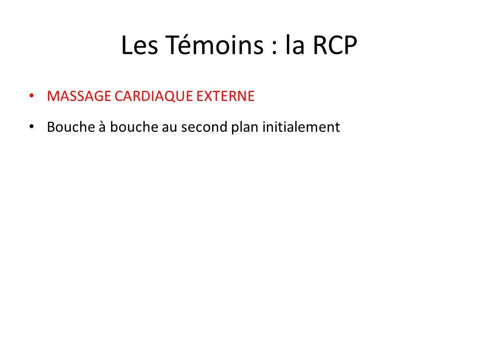 Les Témoins : la RCP MASSAGE CARDIAQUE EXTERNE Bouche à bouche au second plan initialement