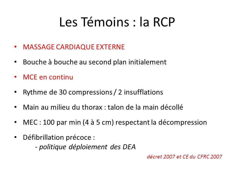 Les Témoins : la RCP MASSAGE CARDIAQUE EXTERNE Bouche à bouche au second plan initialement MCE en continu Rythme de 30 compressions / 2 insufflations