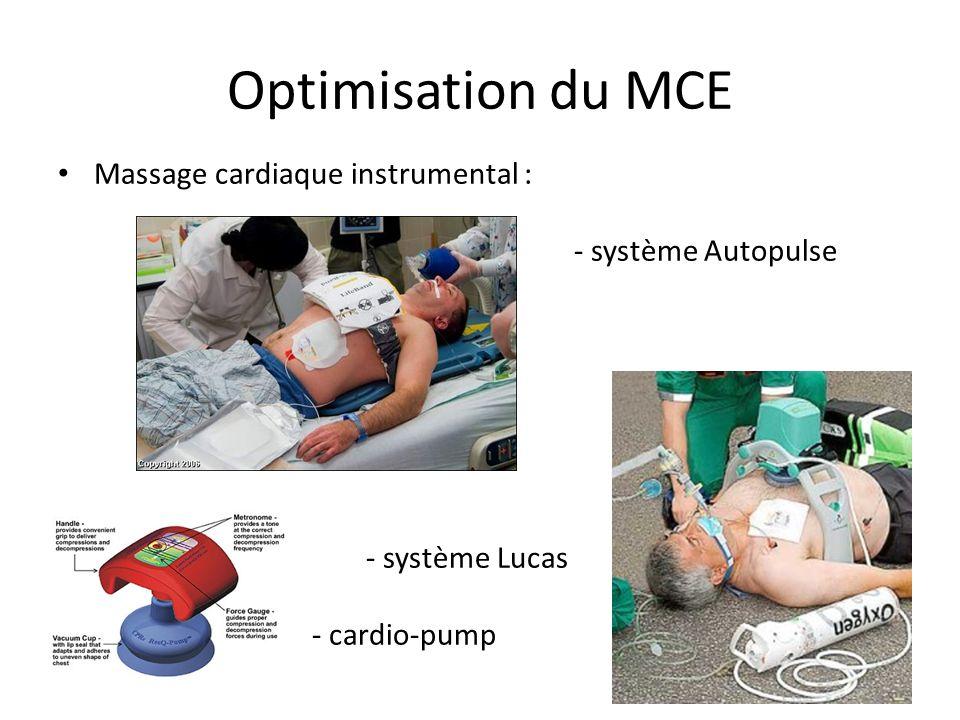 Optimisation du MCE Massage cardiaque instrumental : - système Autopulse - système Lucas - - cardio-pump