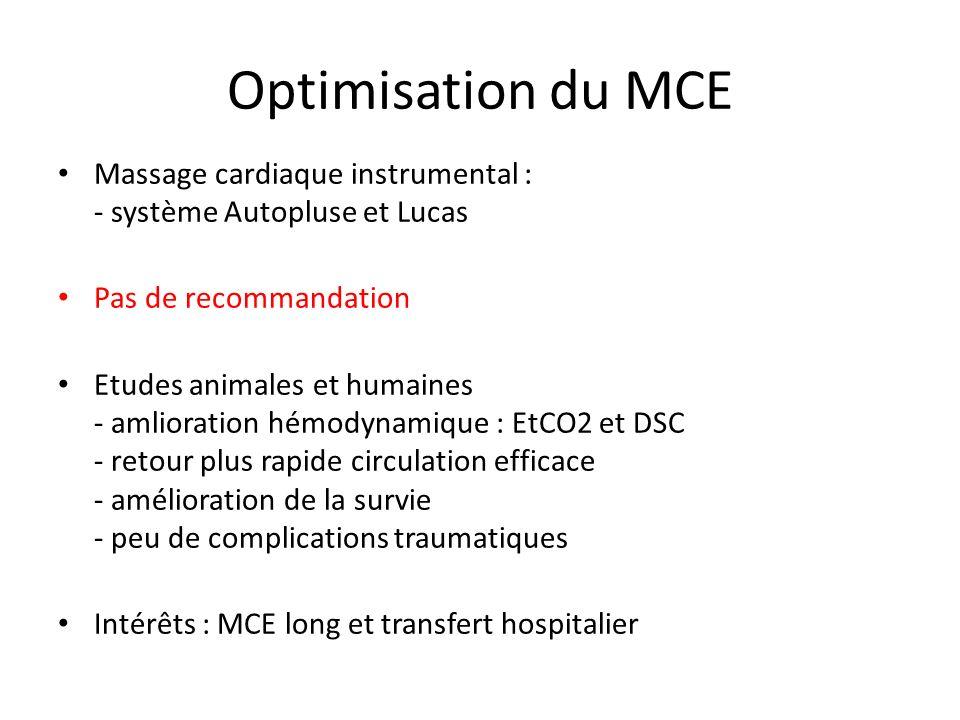 Optimisation du MCE Massage cardiaque instrumental : - système Autopluse et Lucas Pas de recommandation Etudes animales et humaines - amlioration hémo