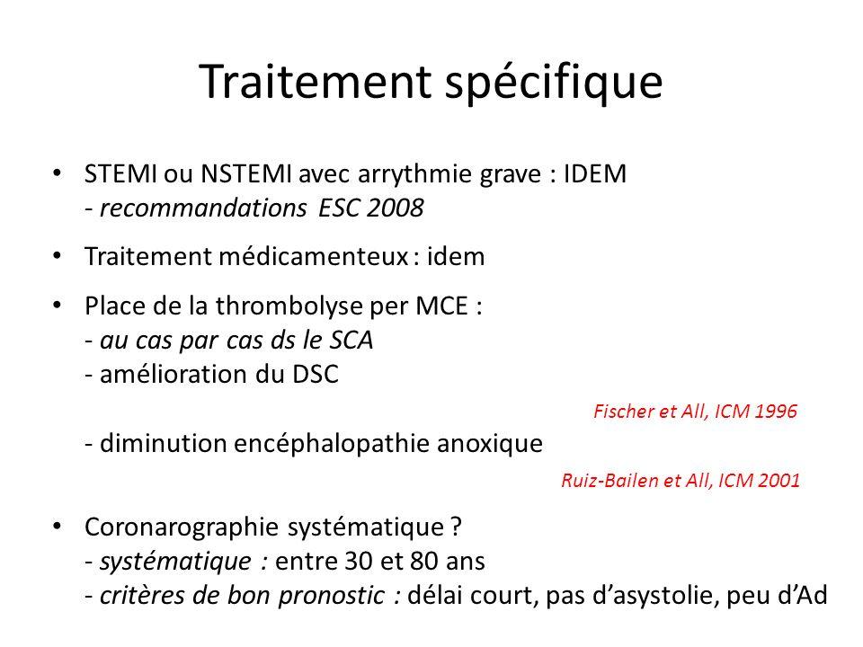 Traitement spécifique STEMI ou NSTEMI avec arrythmie grave : IDEM - recommandations ESC 2008 Traitement médicamenteux : idem Place de la thrombolyse p