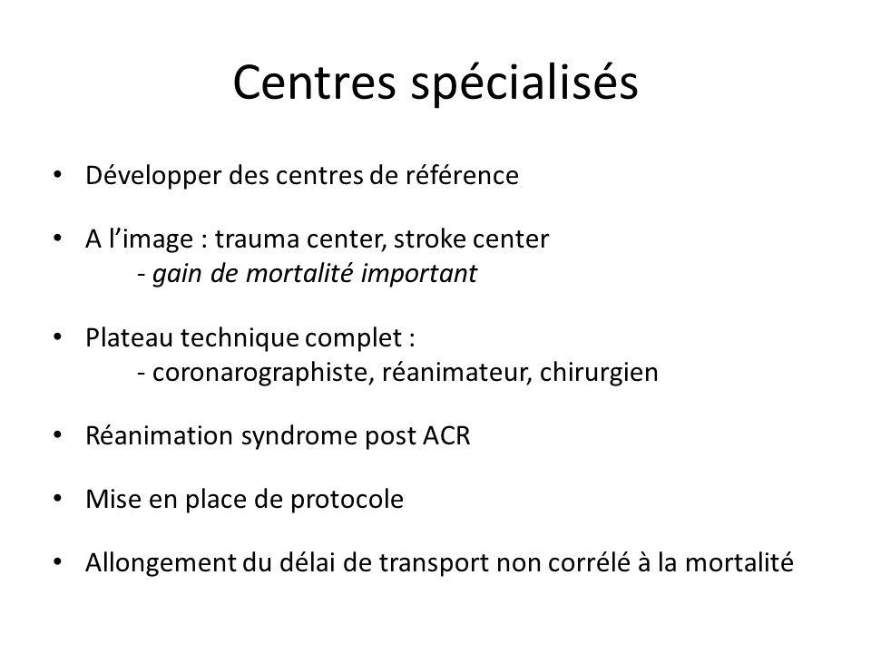 Développer des centres de référence A limage : trauma center, stroke center - gain de mortalité important Plateau technique complet : - coronarographi