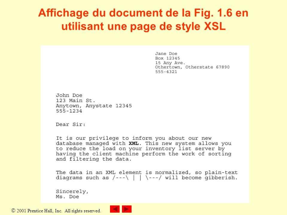 2001 Prentice Hall, Inc. All rights reserved. Affichage du document de la Fig.