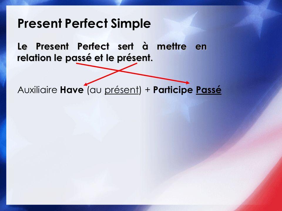 Present Perfect Simple Le Present Perfect sert à mettre en relation le passé et le présent. Auxiliaire Have (au présent) + Participe Passé