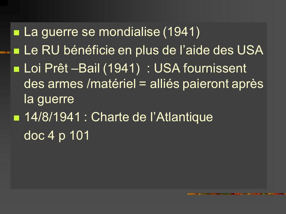 La guerre se mondialise (1941) Le RU bénéficie en plus de laide des USA Loi Prêt –Bail (1941) : USA fournissent des armes /matériel = alliés paieront