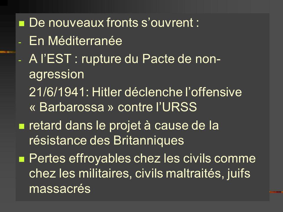 De nouveaux fronts souvrent : - En Méditerranée - A lEST : rupture du Pacte de non- agression 21/6/1941: Hitler déclenche loffensive « Barbarossa » co