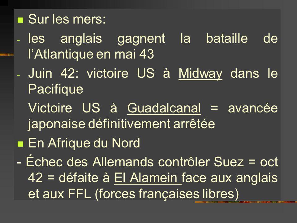 Sur les mers: - les anglais gagnent la bataille de lAtlantique en mai 43 - Juin 42: victoire US à Midway dans le Pacifique Victoire US à Guadalcanal =