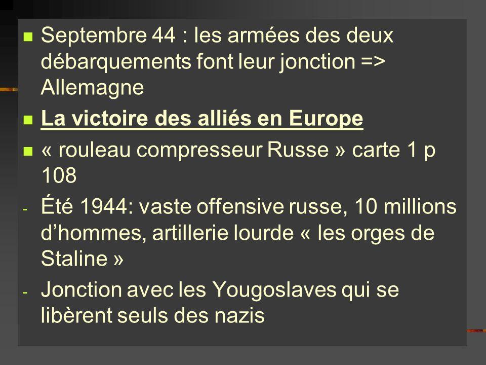 Septembre 44 : les armées des deux débarquements font leur jonction => Allemagne La victoire des alliés en Europe « rouleau compresseur Russe » carte