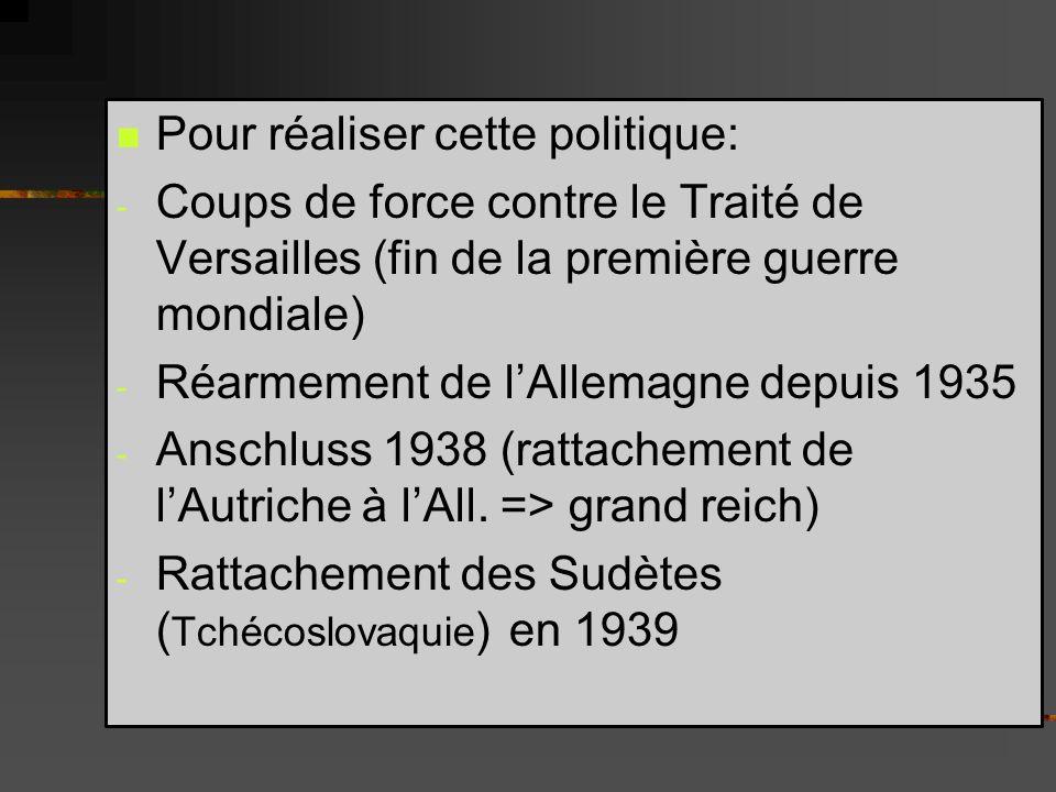 Pour réaliser cette politique: - Coups de force contre le Traité de Versailles (fin de la première guerre mondiale) - Réarmement de lAllemagne depuis