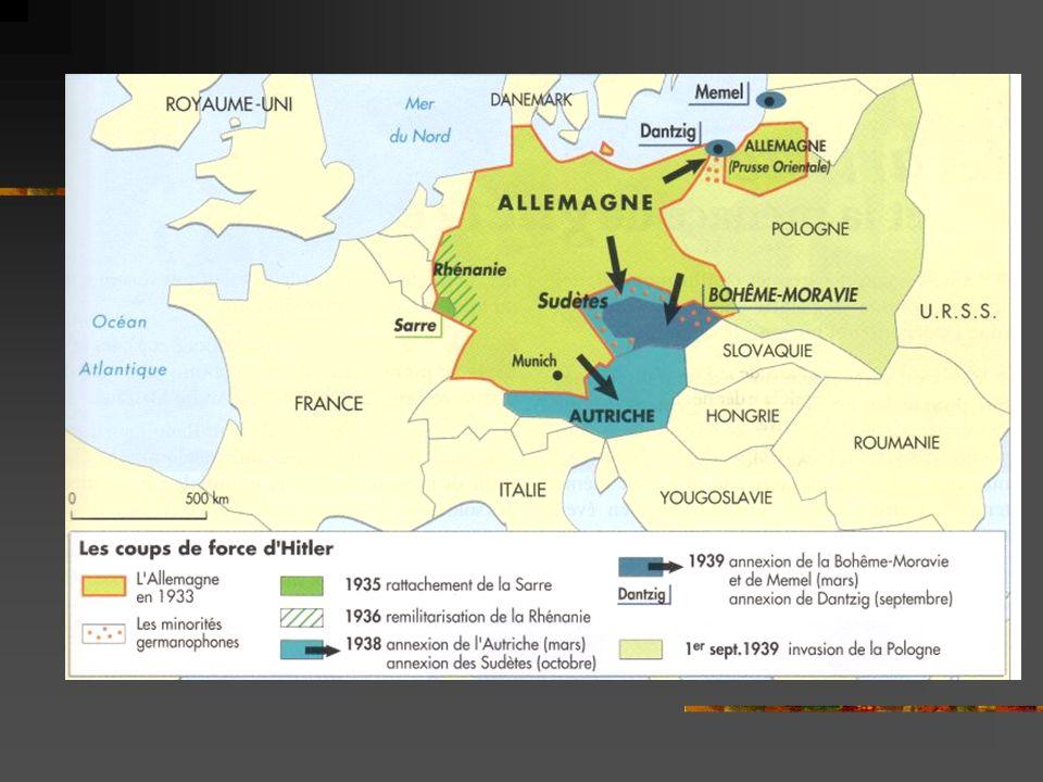 2) En Italie Mussolini Il veut restaurer la grandeur de lEmpire Romain Conquête coloniale = Ethiopie conquise en 1936 réclame le rattachement des « Terres Irrédentes » peuplés dItaliens = annexion de lAlbanie en 1939