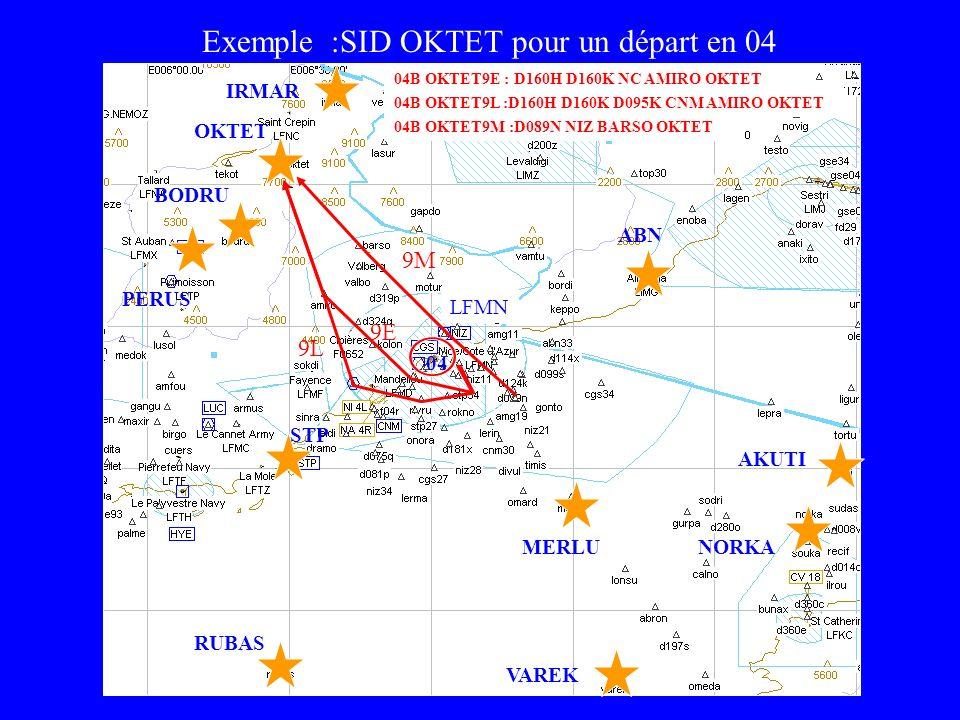 LFMN IRMAR OKTET MERLU PERUS STP RUBAS VAREK ABN BODRU Exemple :SID OKTET pour un départ en 04 AKUTI NORKA 9E 9L 9M 04 04B OKTET9E : D160H D160K NC AM