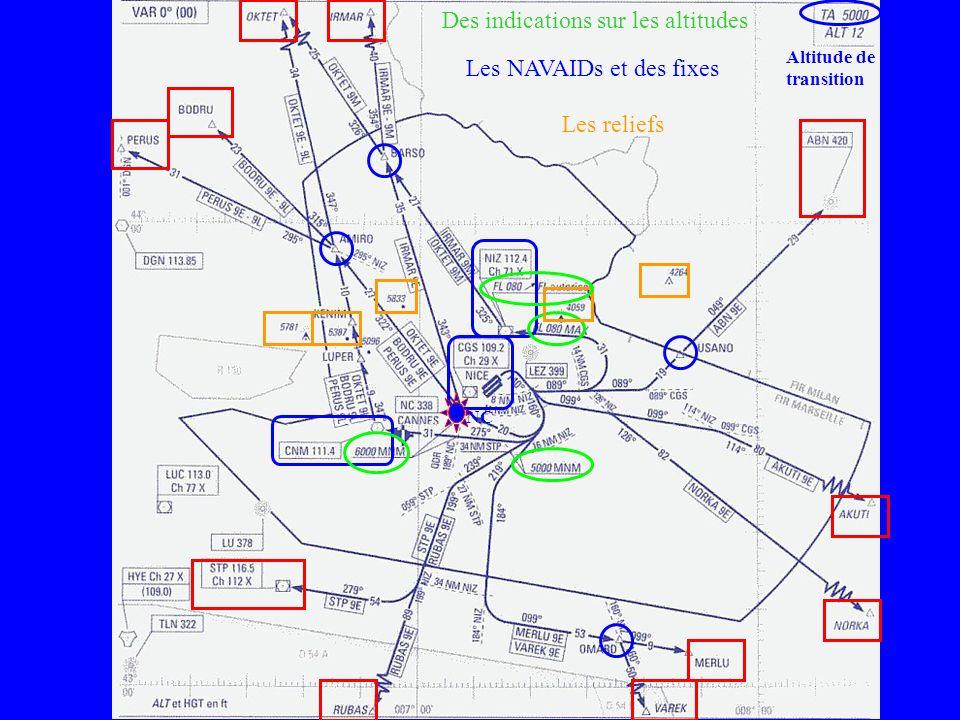 Altitude de transition Les NAVAIDs et des fixes Des indications sur les altitudes NC Les reliefs