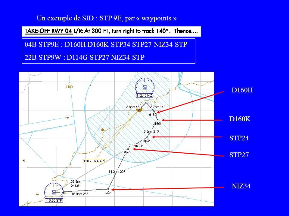 04B STP9E : D160H D160K STP34 STP27 NIZ34 STP 22B STP9W : D114G STP27 NIZ34 STP Un exemple de SID : STP 9E, par « waypoints » D160H STP24 D160K STP27