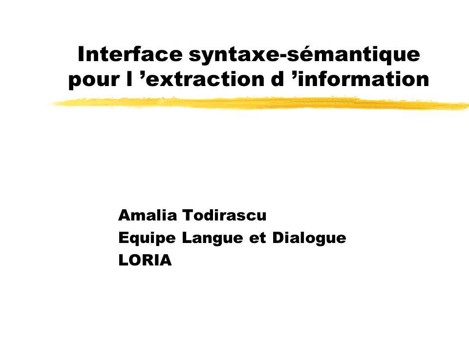 Plan zContexte yproblématique ysystèmes d extraction d information zSyntaxe yanalyse superficielle vs.