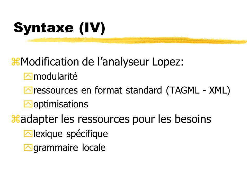 Syntaxe (IV) zModification de lanalyseur Lopez: ymodularité yressources en format standard (TAGML - XML) yoptimisations zadapter les ressources pour l