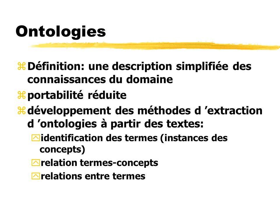 Ontologies zDéfinition: une description simplifiée des connaissances du domaine zportabilité réduite zdéveloppement des méthodes d extraction d ontolo