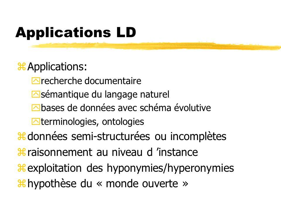 Applications LD zApplications: yrecherche documentaire ysémantique du langage naturel ybases de données avec schéma évolutive yterminologies, ontologi