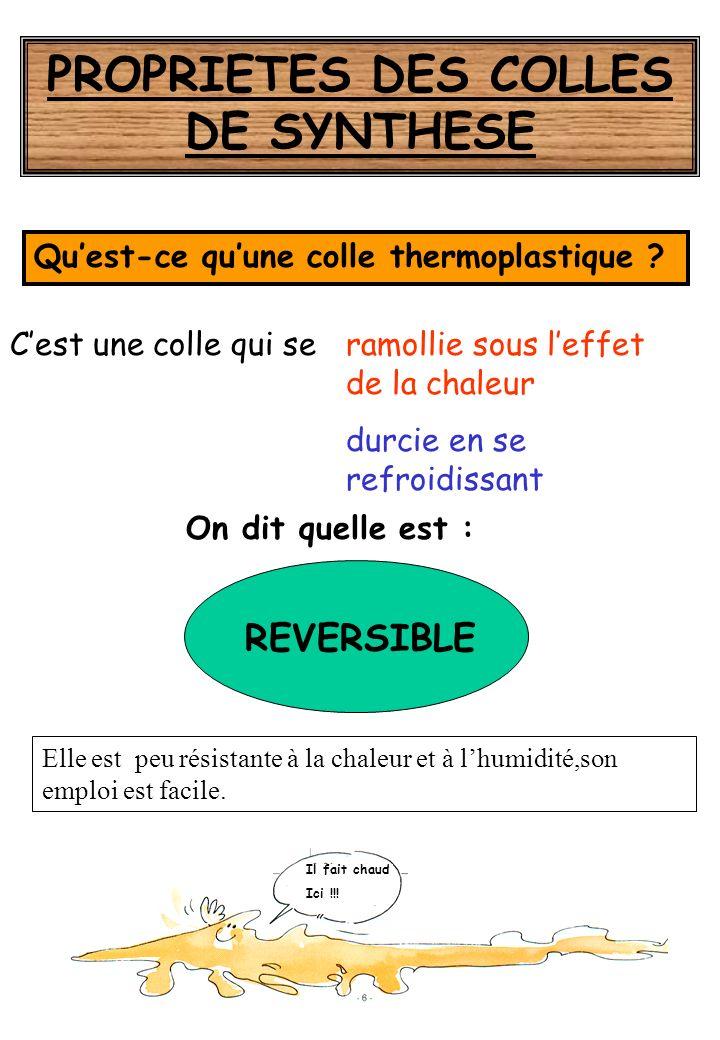 De synthèse THERMODURCISSABLES THERMOPLASTIQUES Vinylique Phénol-formol Néoprène Hot melt Résorcine Époxydes Urée-formol Polyuréthanne