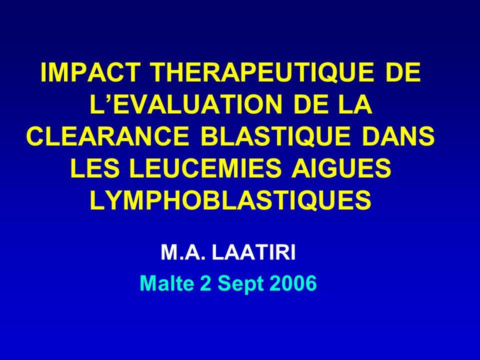 IMPACT THERAPEUTIQUE DE LEVALUATION DE LA CLEARANCE BLASTIQUE DANS LES LEUCEMIES AIGUES LYMPHOBLASTIQUES M.A. LAATIRI Malte 2 Sept 2006