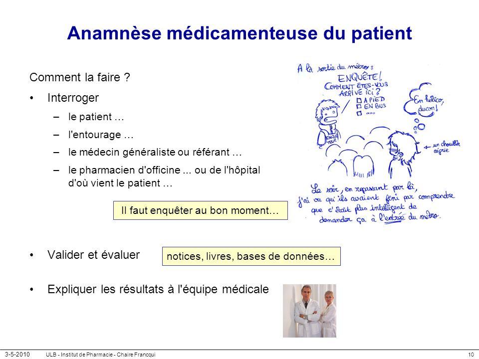 3-5-2010 ULB - Institut de Pharmacie - Chaire Francqui10 Anamnèse médicamenteuse du patient Comment la faire ? Interroger –le patient … –l'entourage …