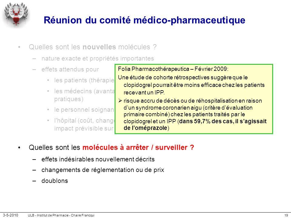 3-5-2010 ULB - Institut de Pharmacie - Chaire Francqui19 Réunion du comité médico-pharmaceutique Quelles sont les nouvelles molécules ? –nature exacte