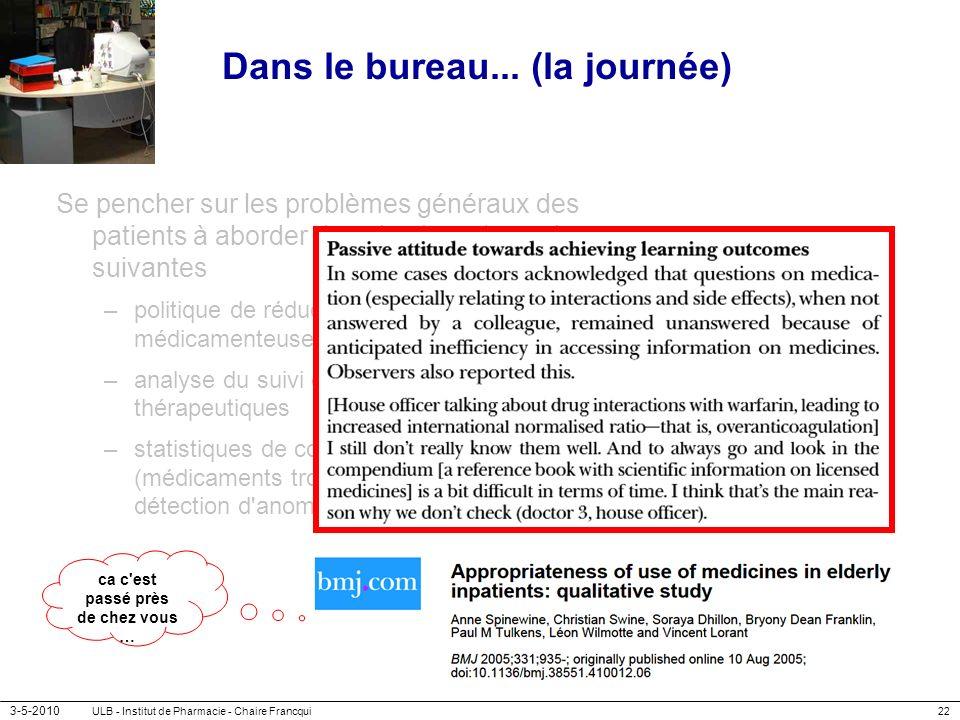 3-5-2010 ULB - Institut de Pharmacie - Chaire Francqui22 Dans le bureau... (la journée) Se pencher sur les problèmes généraux des patients à aborder d