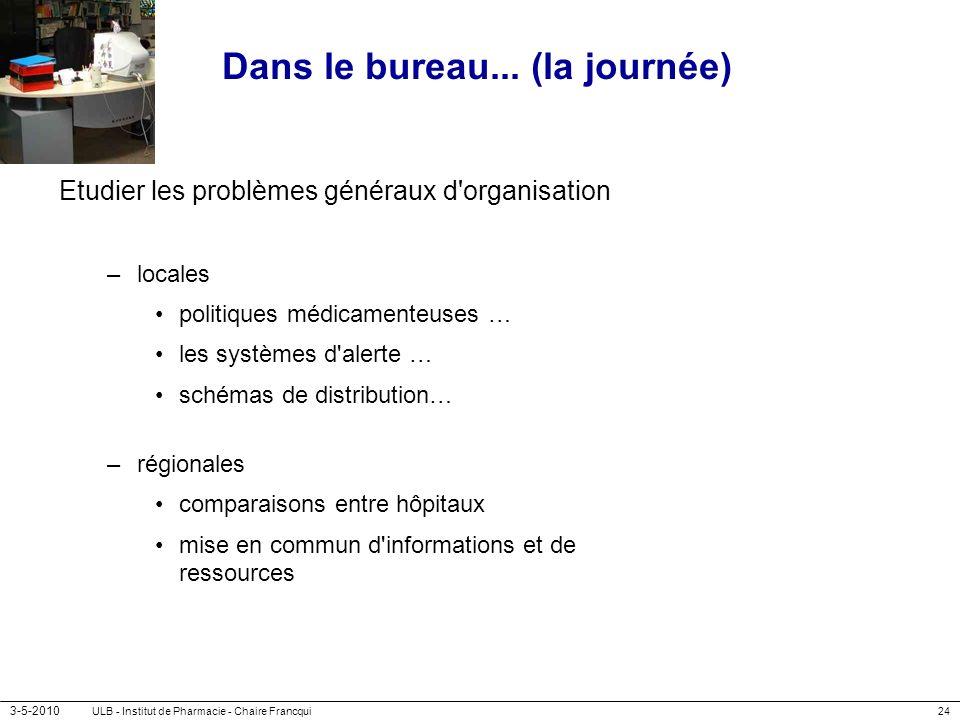 3-5-2010 ULB - Institut de Pharmacie - Chaire Francqui24 Dans le bureau... (la journée) Etudier les problèmes généraux d'organisation –locales politiq