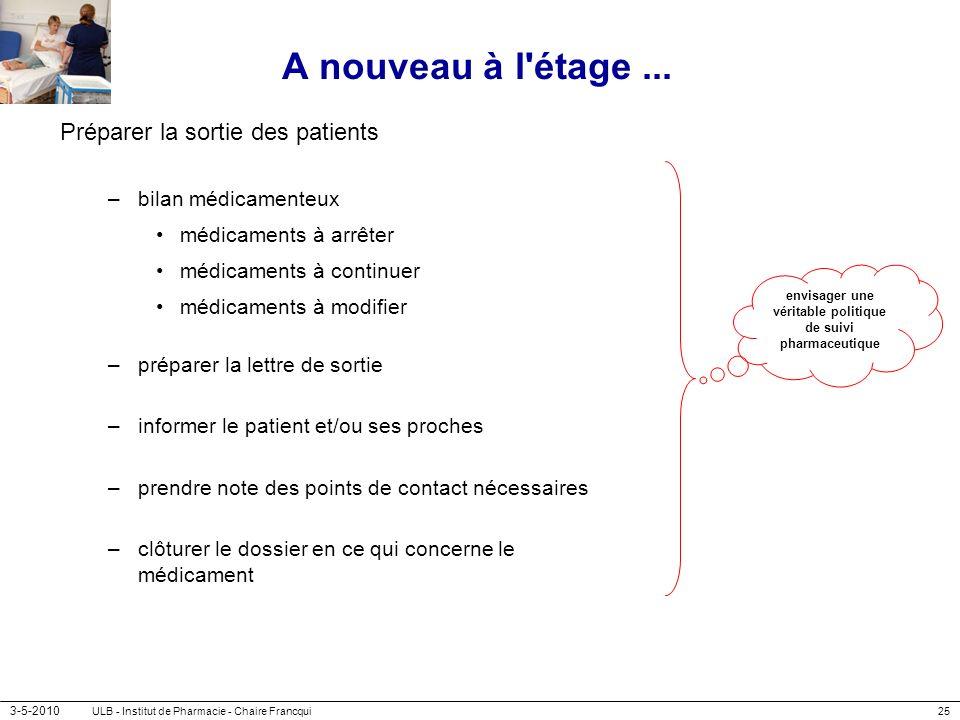 3-5-2010 ULB - Institut de Pharmacie - Chaire Francqui25 A nouveau à l'étage... Préparer la sortie des patients –bilan médicamenteux médicaments à arr