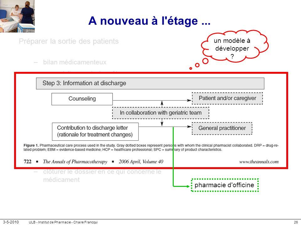 3-5-2010 ULB - Institut de Pharmacie - Chaire Francqui26 A nouveau à l'étage... Préparer la sortie des patients –bilan médicamenteux médicaments à arr