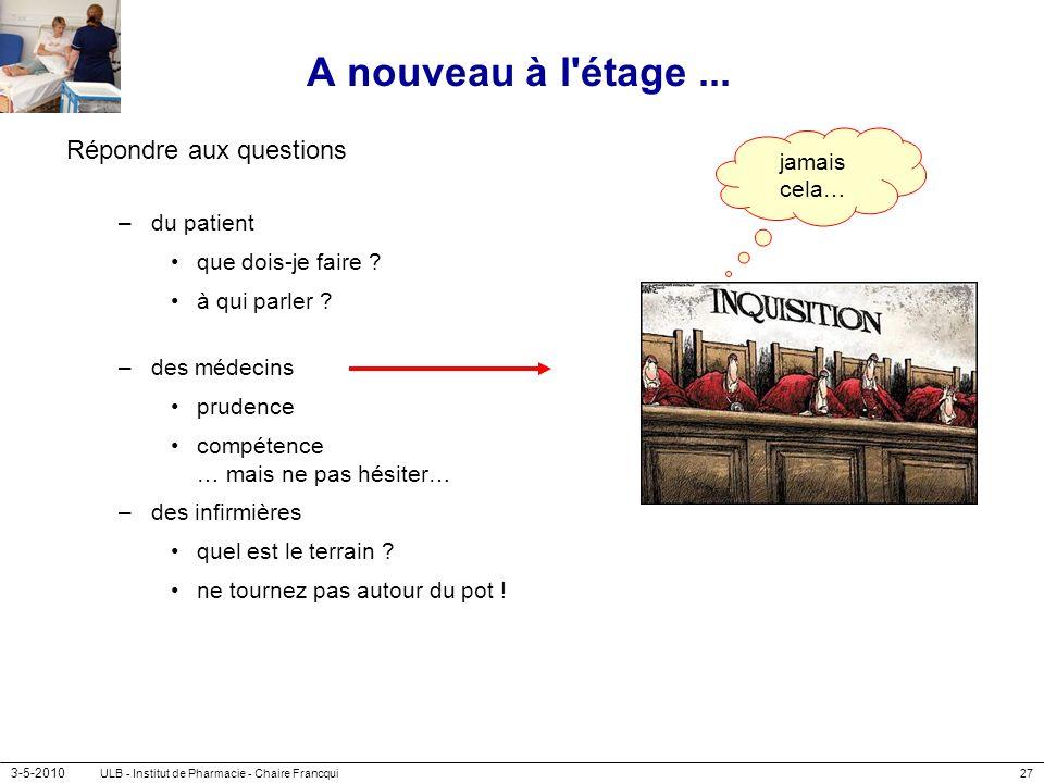 3-5-2010 ULB - Institut de Pharmacie - Chaire Francqui27 A nouveau à l'étage... Répondre aux questions –du patient que dois-je faire ? à qui parler ?