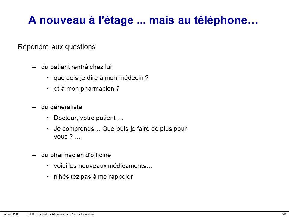 3-5-2010 ULB - Institut de Pharmacie - Chaire Francqui29 A nouveau à l'étage... mais au téléphone… Répondre aux questions –du patient rentré chez lui