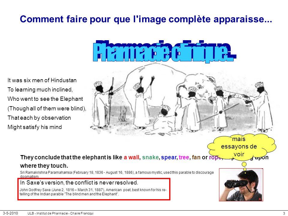3-5-2010 ULB - Institut de Pharmacie - Chaire Francqui3 Comment faire pour que l'image complète apparaisse... They conclude that the elephant is like
