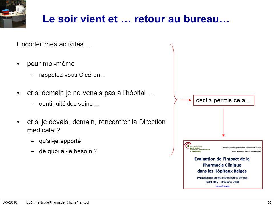 3-5-2010 ULB - Institut de Pharmacie - Chaire Francqui30 Le soir vient et … retour au bureau… Encoder mes activités … pour moi-même –rappelez-vous Cic