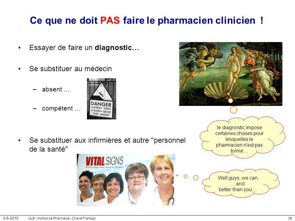 3-5-2010 ULB - Institut de Pharmacie - Chaire Francqui36 Ce que ne doit PAS faire le pharmacien clinicien ! Essayer de faire un diagnostic… Se substit