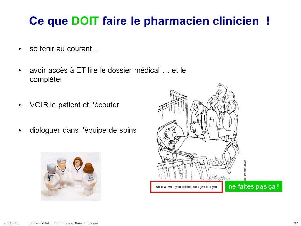 3-5-2010 ULB - Institut de Pharmacie - Chaire Francqui37 Ce que DOIT faire le pharmacien clinicien ! se tenir au courant… avoir accès à ET lire le dos