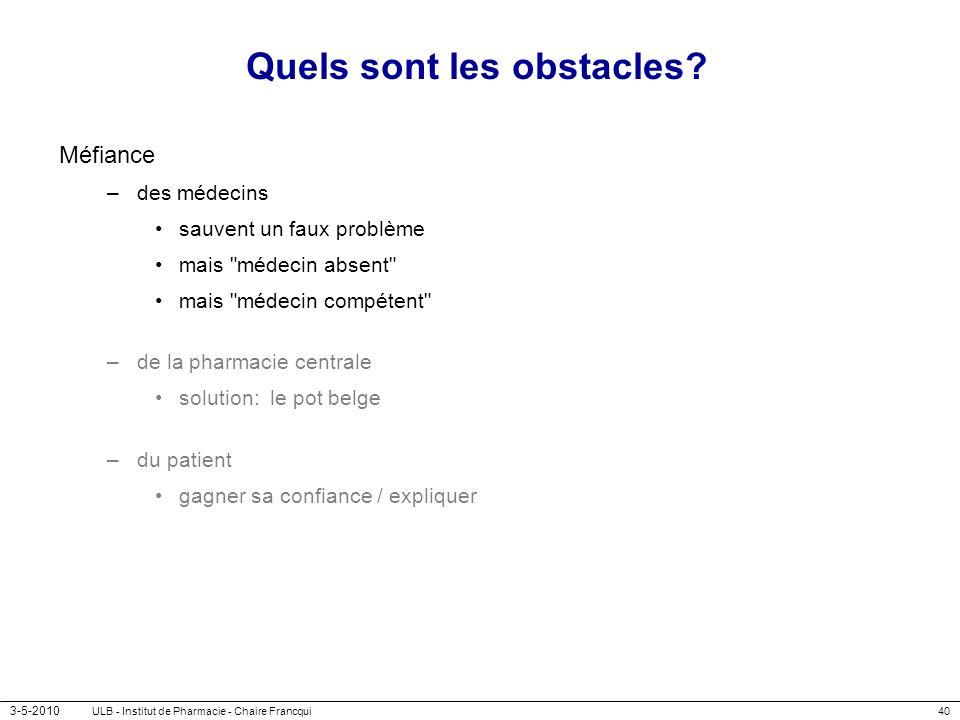 3-5-2010 ULB - Institut de Pharmacie - Chaire Francqui40 Quels sont les obstacles? Méfiance –des médecins sauvent un faux problème mais