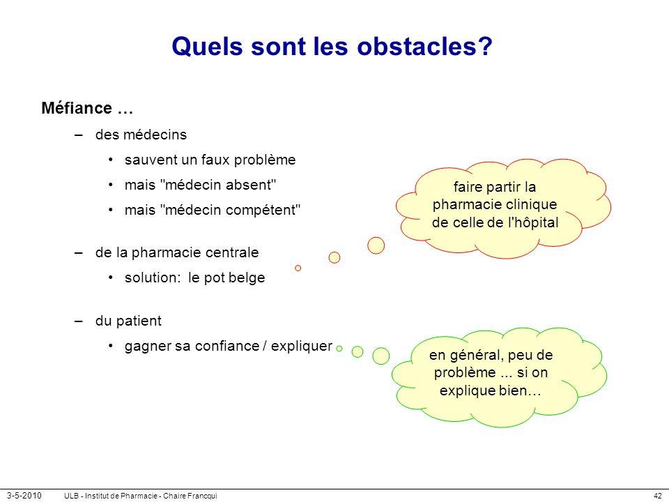 3-5-2010 ULB - Institut de Pharmacie - Chaire Francqui42 Quels sont les obstacles? Méfiance … –des médecins sauvent un faux problème mais