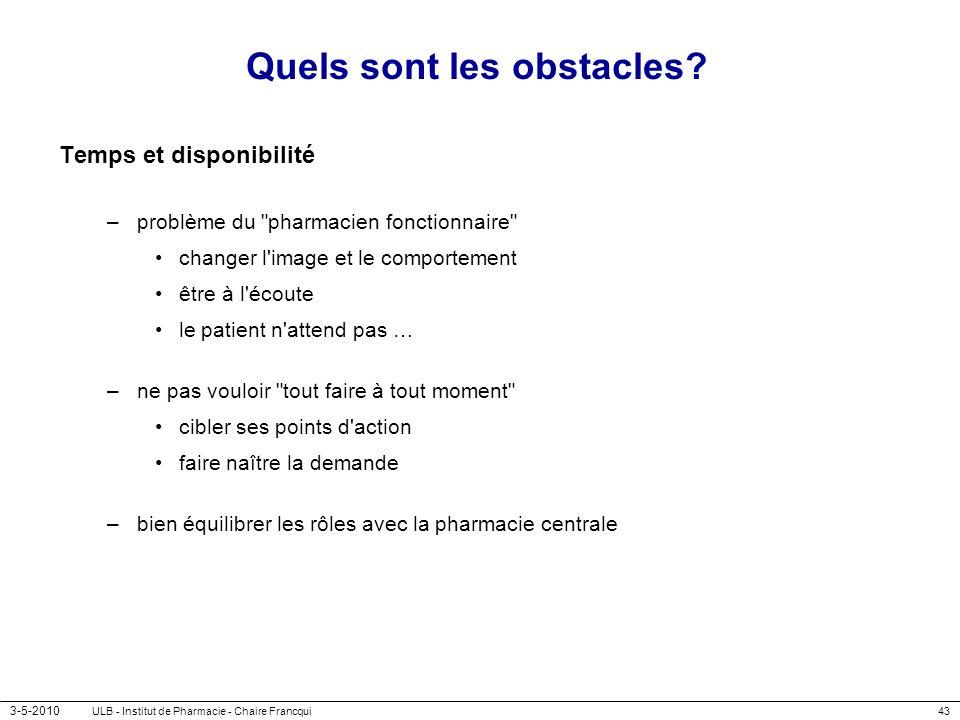 3-5-2010 ULB - Institut de Pharmacie - Chaire Francqui43 Quels sont les obstacles? Temps et disponibilité –problème du