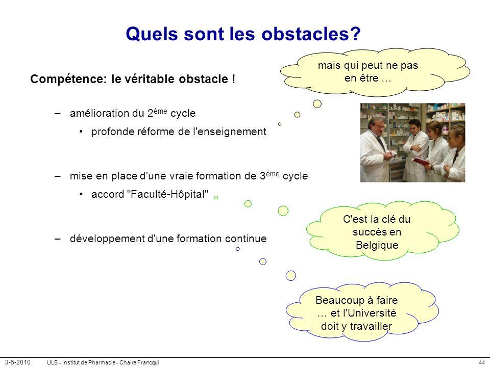 3-5-2010 ULB - Institut de Pharmacie - Chaire Francqui44 Quels sont les obstacles? Compétence: le véritable obstacle ! –amélioration du 2 ème cycle pr
