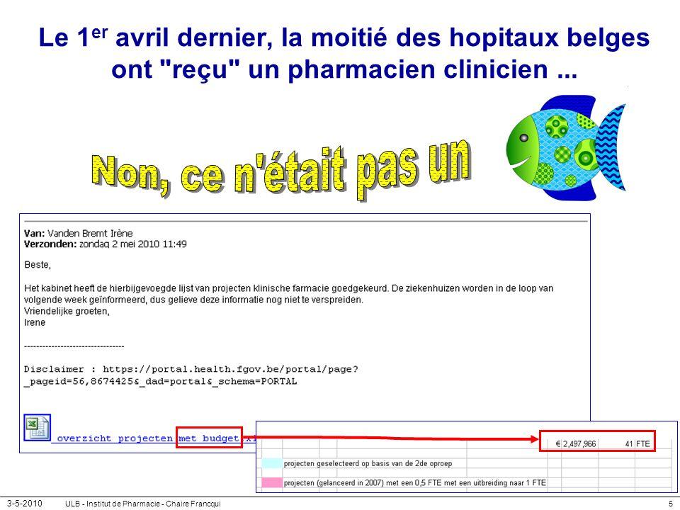 3-5-2010 ULB - Institut de Pharmacie - Chaire Francqui5 Le 1 er avril dernier, la moitié des hopitaux belges ont