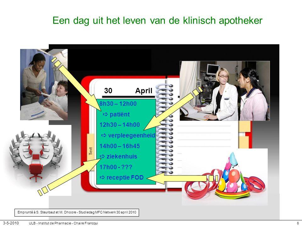 3-5-2010 ULB - Institut de Pharmacie - Chaire Francqui6 Een dag uit het leven van de klinisch apotheker 8h30 – 12h00 patiënt 12h30 – 14h00 verpleegeen