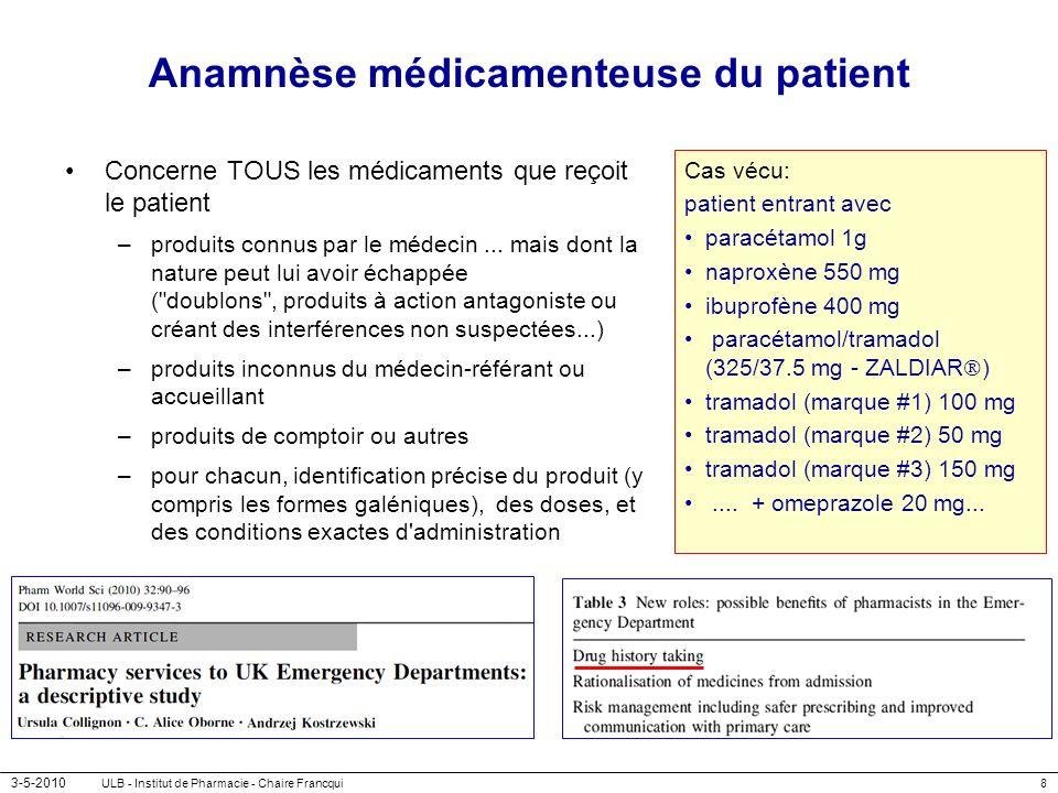 3-5-2010 ULB - Institut de Pharmacie - Chaire Francqui9 Anamnèse médicamenteuse du patient Concerne TOUS les médicaments que reçoit le patient –produits connus par le médecin...