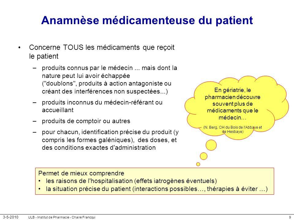 3-5-2010 ULB - Institut de Pharmacie - Chaire Francqui9 Anamnèse médicamenteuse du patient Concerne TOUS les médicaments que reçoit le patient –produi