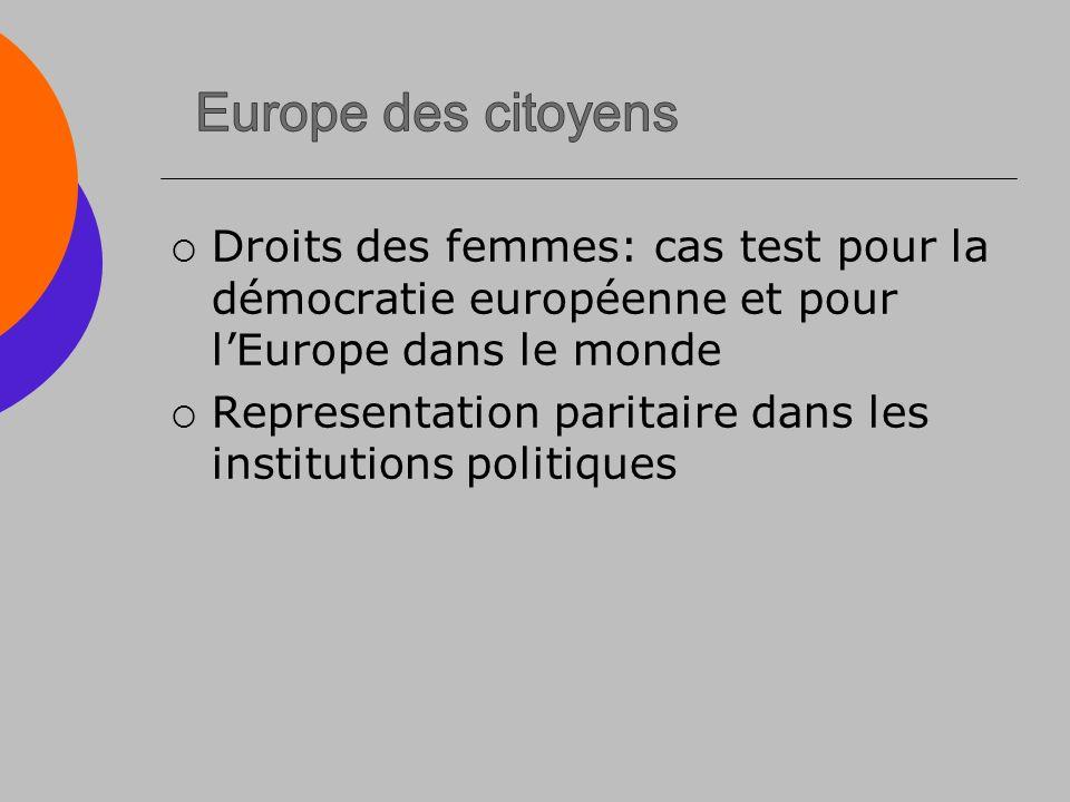 Droits des femmes: cas test pour la démocratie européenne et pour lEurope dans le monde Representation paritaire dans les institutions politiques