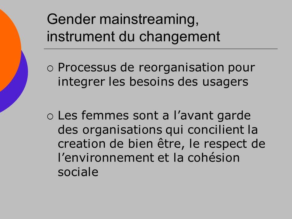 Gender mainstreaming, instrument du changement Processus de reorganisation pour integrer les besoins des usagers Les femmes sont a lavant garde des organisations qui concilient la creation de bien être, le respect de lenvironnement et la cohésion sociale