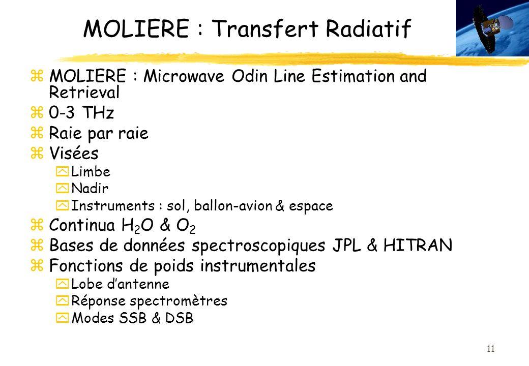 11 MOLIERE : Transfert Radiatif zMOLIERE : Microwave Odin Line Estimation and Retrieval z0-3 THz zRaie par raie zVisées yLimbe yNadir yInstruments : sol, ballon-avion & espace zContinua H 2 O & O 2 zBases de données spectroscopiques JPL & HITRAN zFonctions de poids instrumentales yLobe dantenne yRéponse spectromètres yModes SSB & DSB