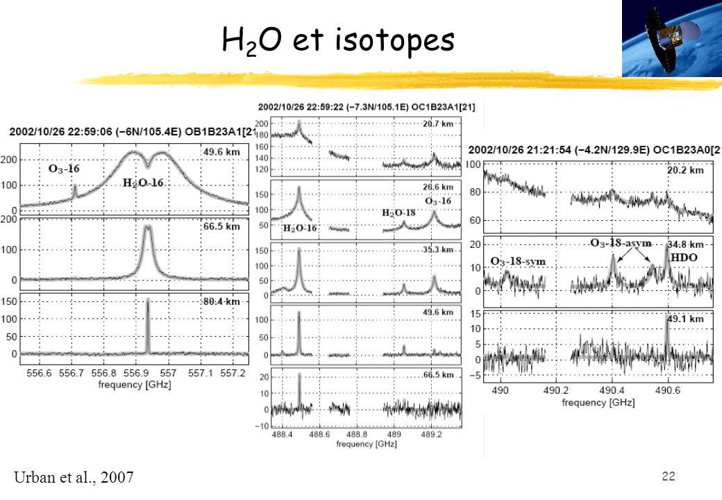 22 H 2 O et isotopes Urban et al., 2007