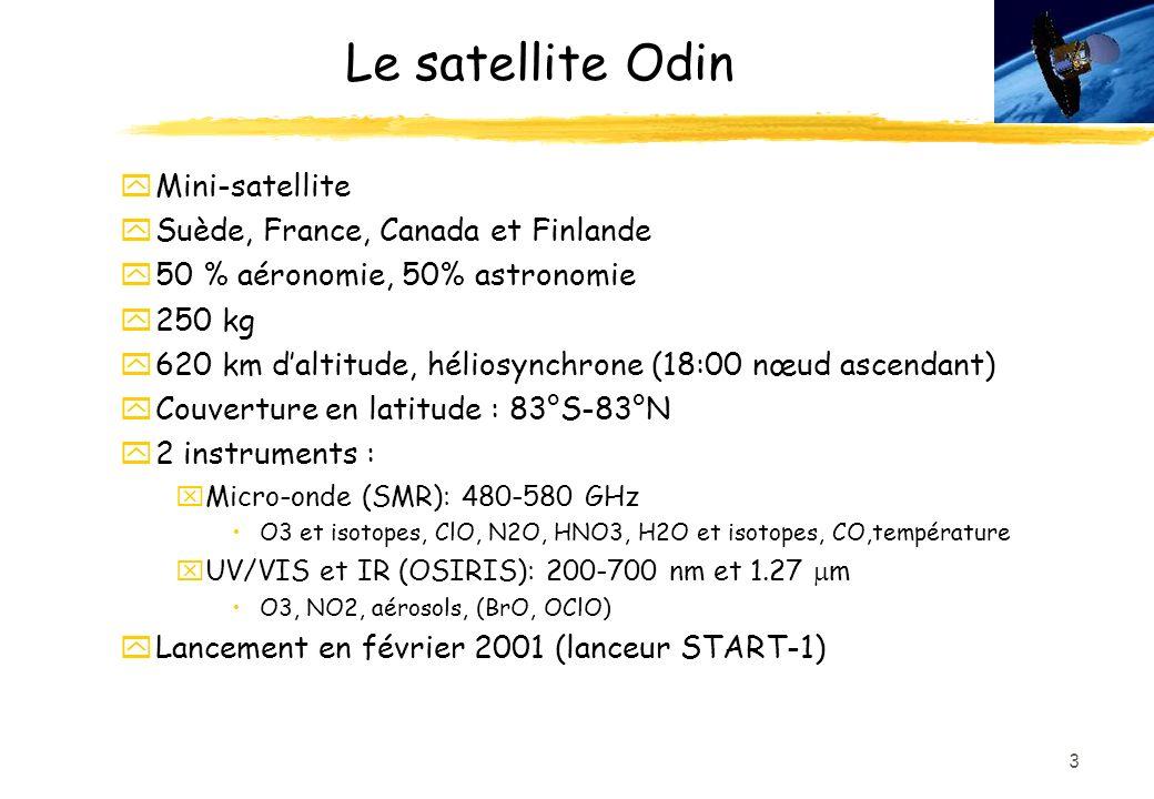 3 Le satellite Odin yMini-satellite ySuède, France, Canada et Finlande y50 % aéronomie, 50% astronomie y250 kg y620 km daltitude, héliosynchrone (18:00 nœud ascendant) yCouverture en latitude : 83°S-83°N y2 instruments : xMicro-onde (SMR): 480-580 GHz O3 et isotopes, ClO, N2O, HNO3, H2O et isotopes, CO,température UV/VIS et IR (OSIRIS): 200-700 nm et 1.27 m O3, NO2, aérosols, (BrO, OClO) yLancement en février 2001 (lanceur START-1)