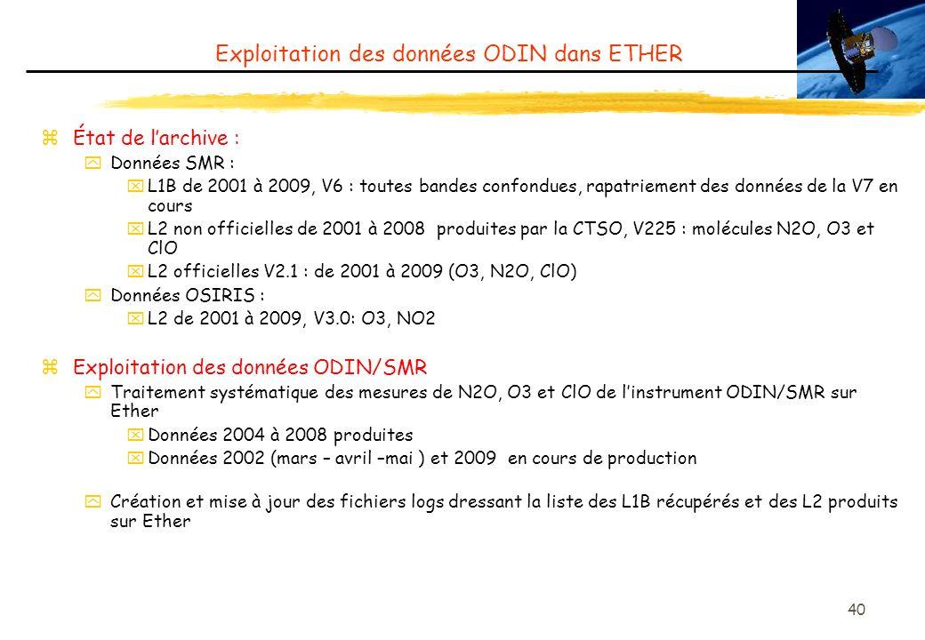 40 Exploitation des données ODIN dans ETHER zÉtat de larchive : yDonnées SMR : xL1B de 2001 à 2009, V6 : toutes bandes confondues, rapatriement des données de la V7 en cours xL2 non officielles de 2001 à 2008 produites par la CTSO, V225 : molécules N2O, O3 et ClO xL2 officielles V2.1 : de 2001 à 2009 (O3, N2O, ClO) yDonnées OSIRIS : xL2 de 2001 à 2009, V3.0: O3, NO2 zExploitation des données ODIN/SMR yTraitement systématique des mesures de N2O, O3 et ClO de linstrument ODIN/SMR sur Ether xDonnées 2004 à 2008 produites xDonnées 2002 (mars – avril –mai ) et 2009 en cours de production yCréation et mise à jour des fichiers logs dressant la liste des L1B récupérés et des L2 produits sur Ether