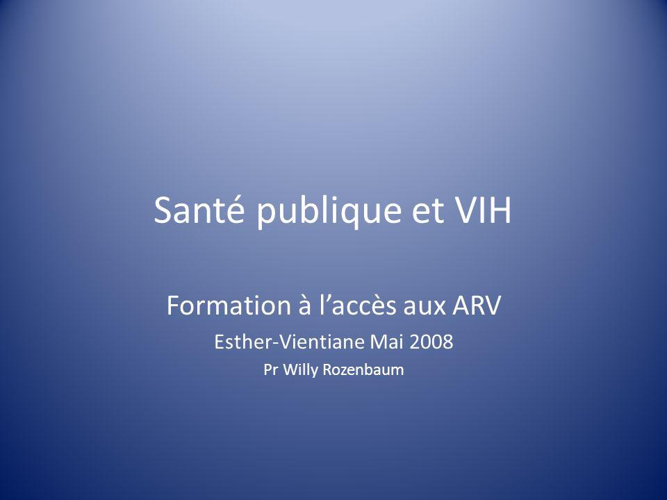 Santé publique et VIH Formation à laccès aux ARV Esther-Vientiane Mai 2008 Pr Willy Rozenbaum